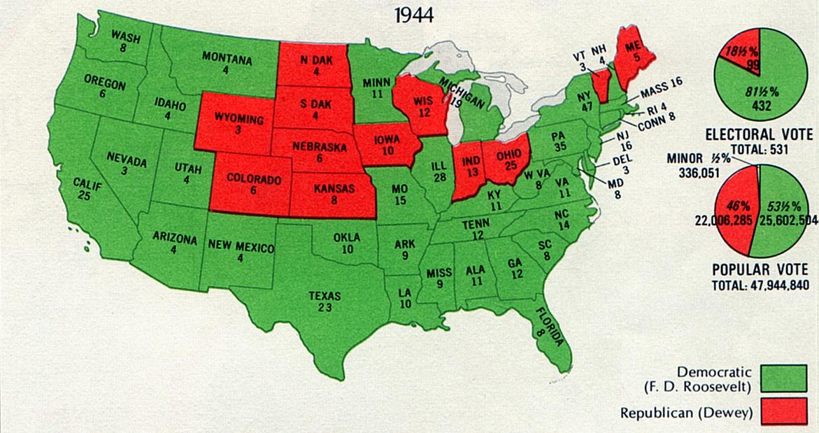 the presidential election of november 1944 department of the interior ball images of american political history